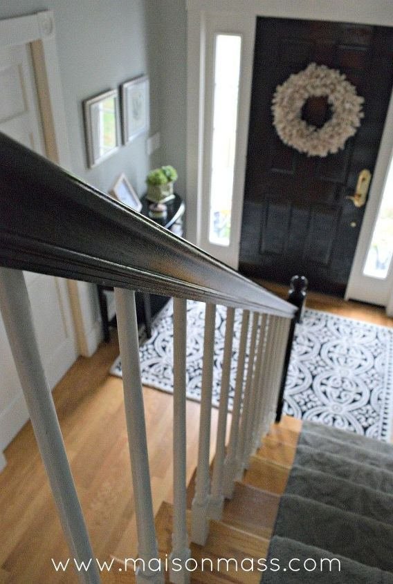 how to paint oak banisters glossy black
