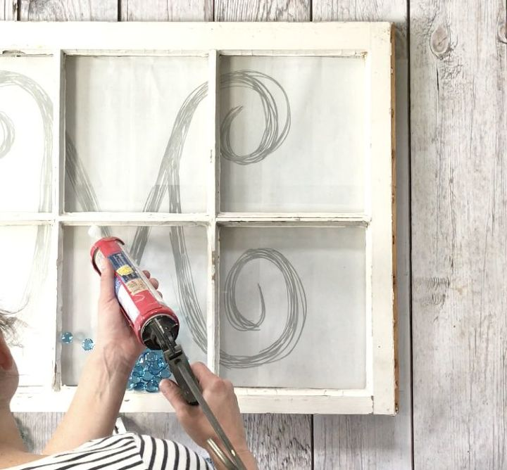 s 3 ways to turn ordinary items into pottery barn style home decor, Step 6 Trace stencil with silicone