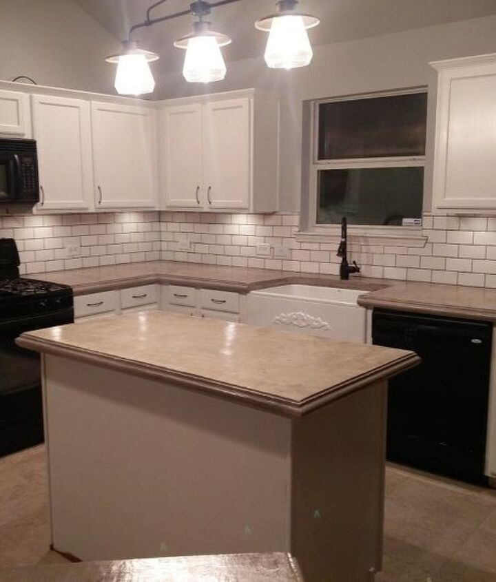 complete kitchen makeover with concrete countertops