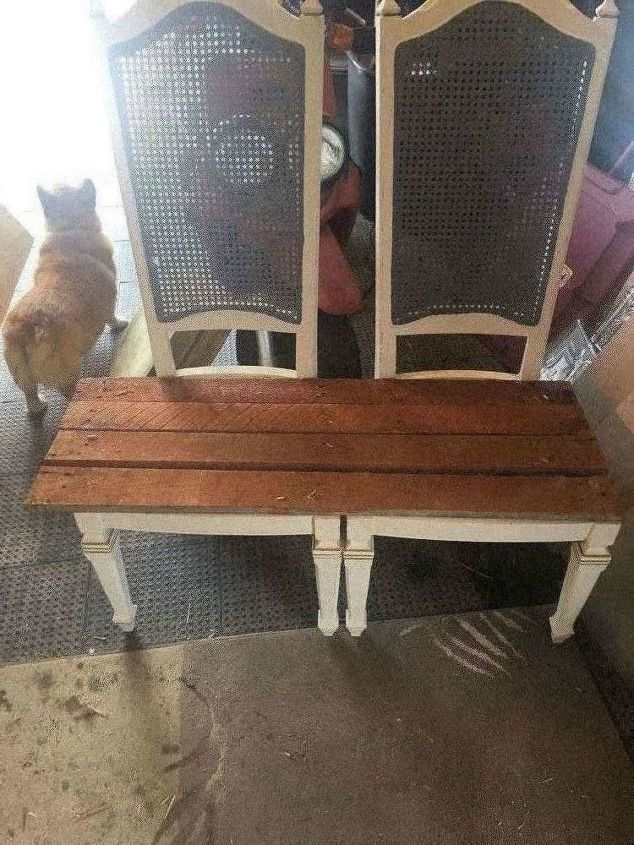 rustic double chair bench repurposed