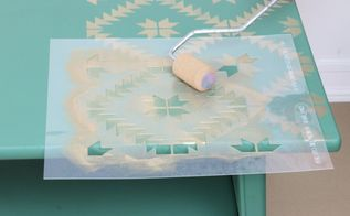 revamp old furniture with paint and a tile stencil