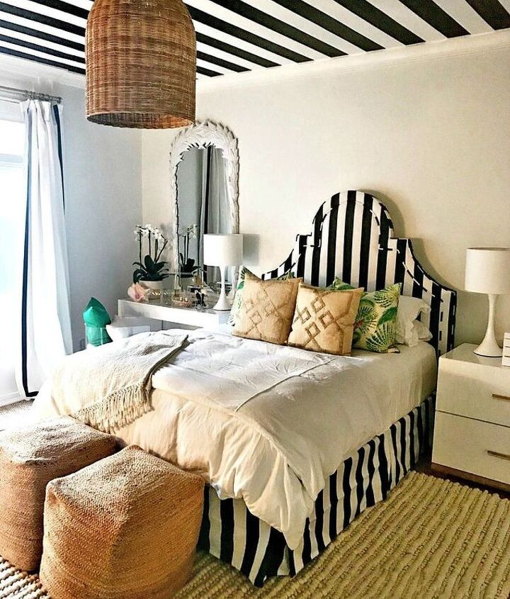 how to paint a black and white striped ceiling