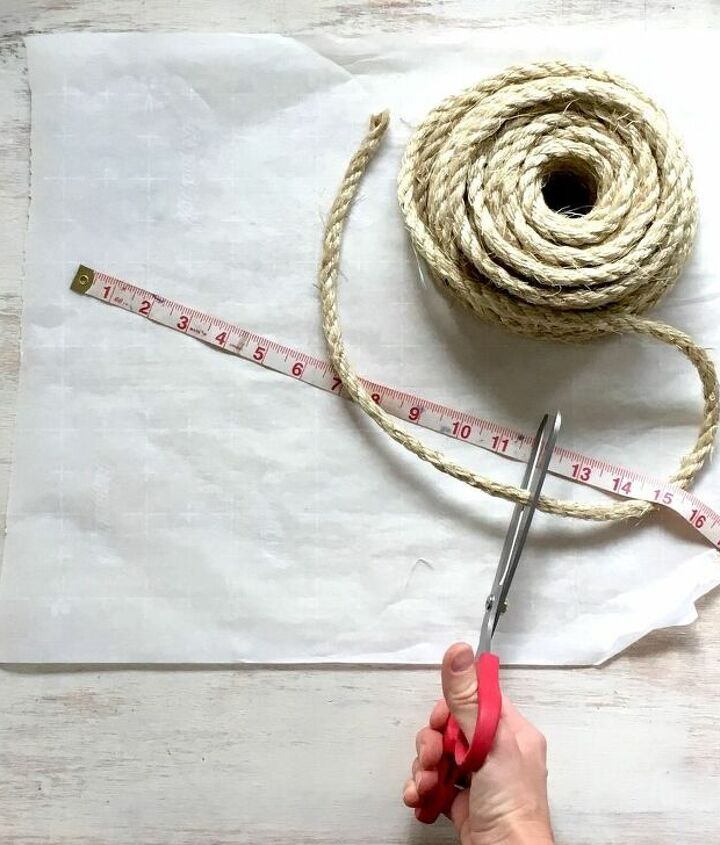 s 3 creative projects of eye catching rugs that no one else has, Step 1 Measure and cut sisal rope
