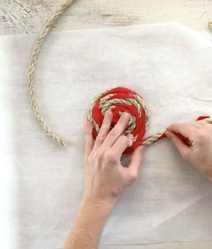 s 3 creative projects of eye catching rugs that no one else has, Step 3 Coil rope with spandex