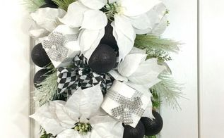 black and white winter swag for your front door
