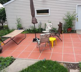 I Have A Large Patio That I Painted To Look Like Large Tiles.