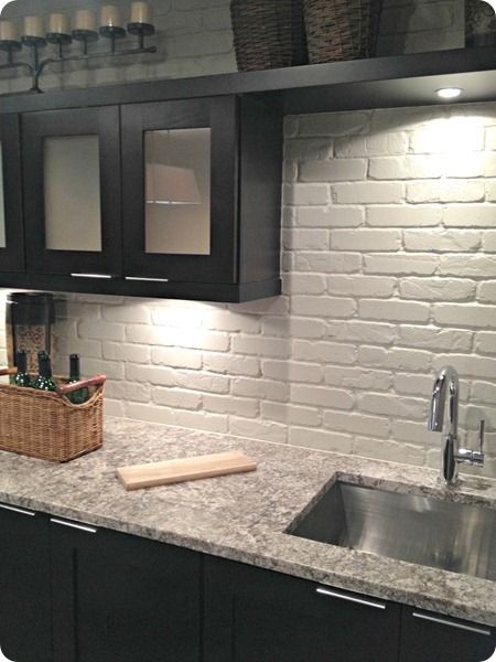 easy faux brick backsplash diy