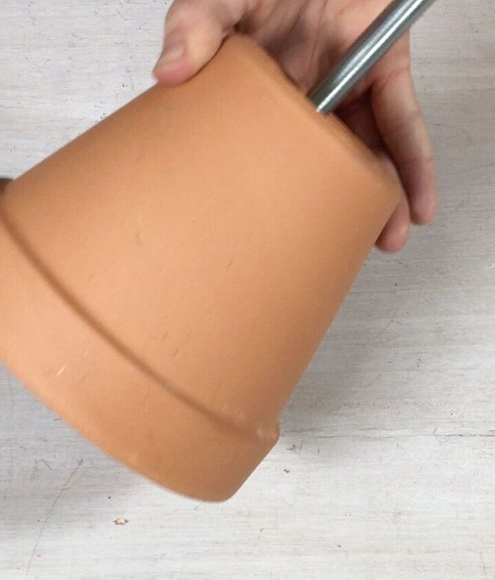 s 3 ideas to use terracotta pots you definitely haven t seen before, Step 4 Feed the rod through a terracotta pot