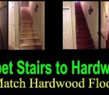 how to remodel carpet stairs to hardwood, Before and After Picture