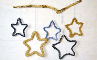 how to make festive denim and burlap star decorations