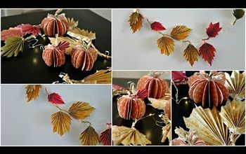 diy fall decor paper pumpkins and fall leaves