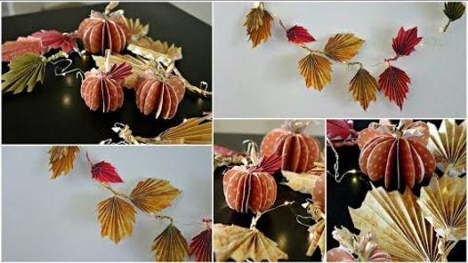 diy fall decor paper pumpkins and fall leaves