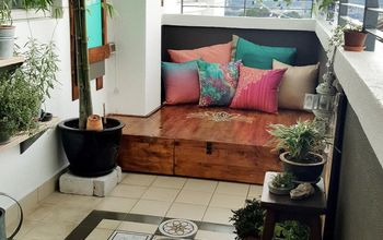 My Bohemian Balcony Makeover: Built a Mini Deck, Stained & Stenciled..
