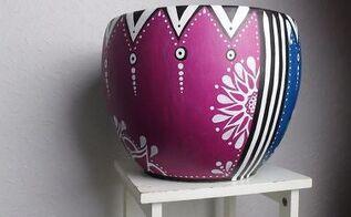 hand painted plant pot