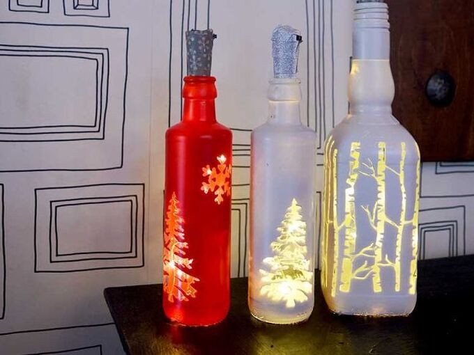 so simple to make gorgeous upcycled christmas bottle lights