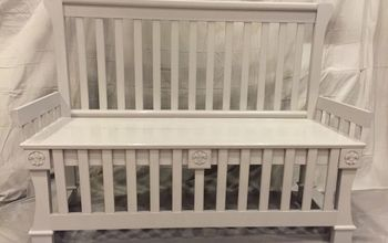 Repurposed Baby Bed to Entryway Bench