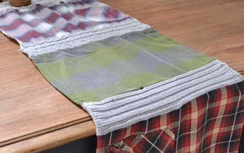 Reuse Old Clothes to Make  a  Flannel Table Runner for Fall