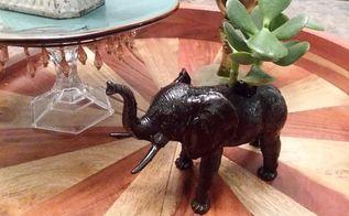 vintage animal planters, Finished Elephant Planter