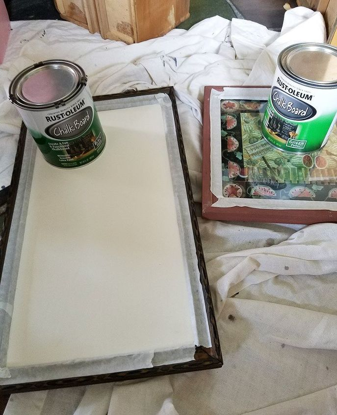 diy chalkboard message board, Tape edges before painting