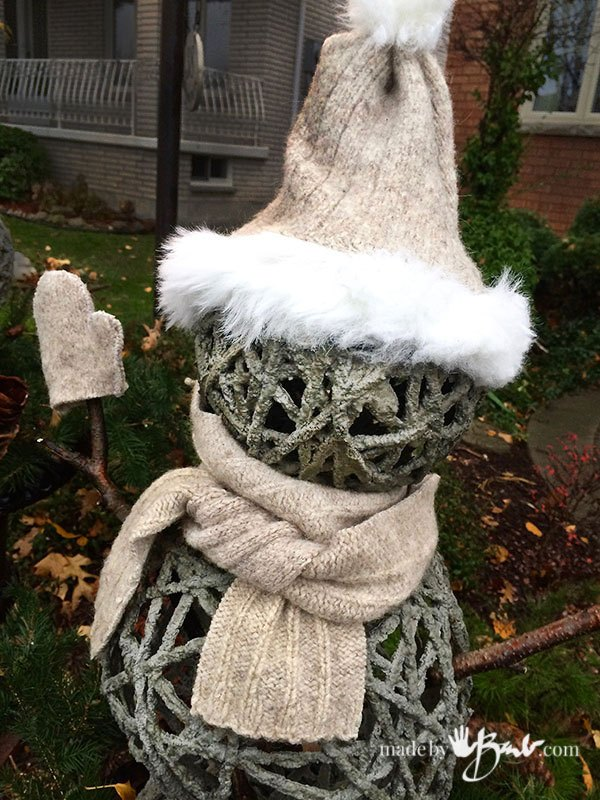winter planter snowman diy