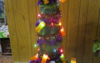 multiple repurposed container christmas tree and pill bottle lights