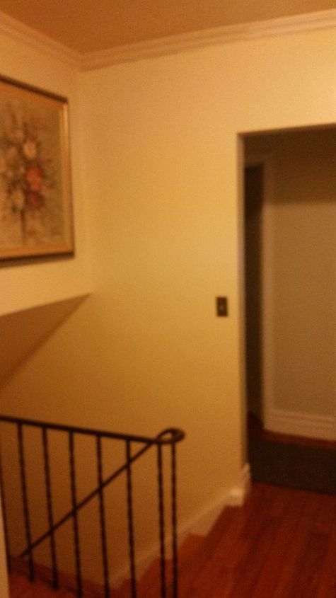 q how do i paint the top of the stairs where the crown molding is