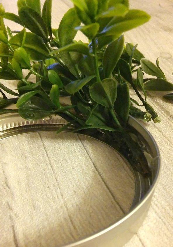 Diy Mini Faux Boxwood Wreath With Mason Jar Lids Hometalk