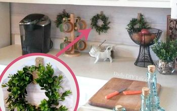 diy mini faux boxwood wreath with mason jar lids