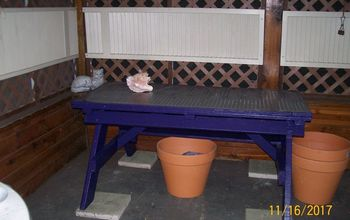 plant table from old picnic table