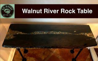 walnut river rock table glow in the dark epoxy resin