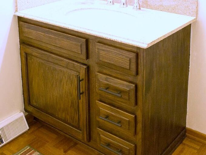 how to re stain bathroom cabinets with water based wood stain