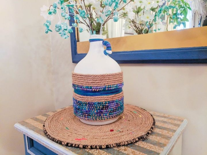 upcycle an old wine jug using ombre jute and paint