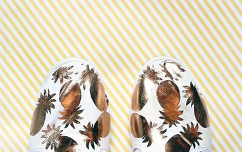 DIY Gold Metallic Pineapple Shoes