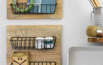 Easy Dollar Store DIY Farmhouse Wall Baskets
