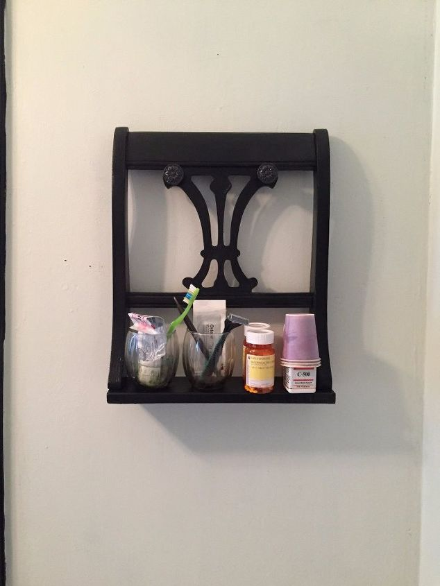 turn a chair back into a unique wall shelf
