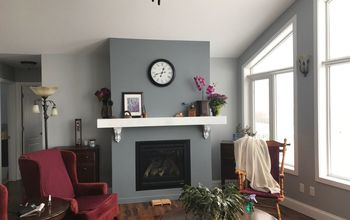 Fireplace With Faux Marble Mantel and Livingroom Redo With Paint.