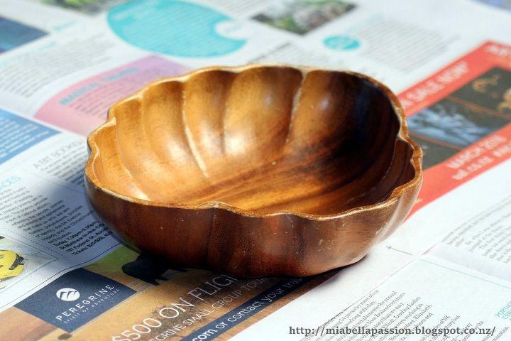 thrift shop wood bowl makeover