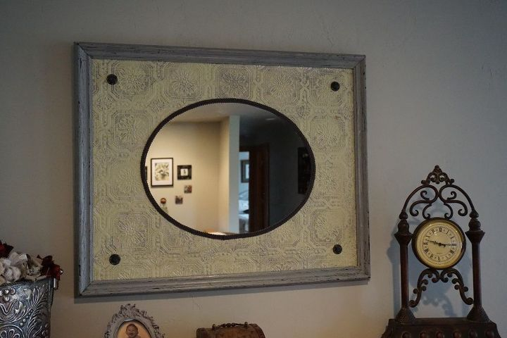 re purposing a oval mirror and old frame to an antique mirror