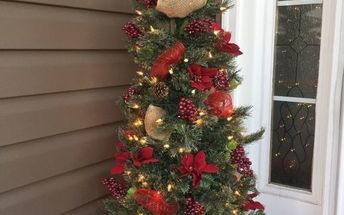 front porch artificial tree spruced up with 4 dollar store finds
