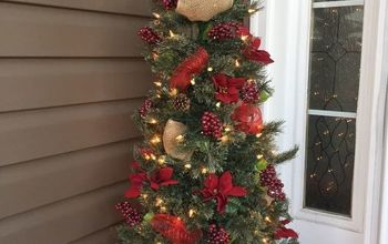 Front Porch Artificial Tree Spruced up With 4 Dollar Store Finds...