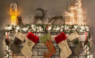 how to decorate a narrow stone mantel for christmas in 5 minutes
