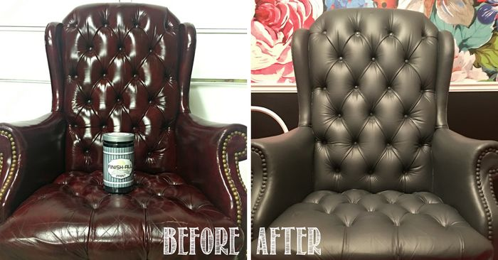 giving old world leather a farmhouse makeover