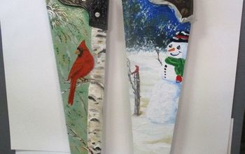 painted vintage cross cut hand saw with winter scenes