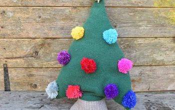 cute upcycled sweater christmas tree pillow