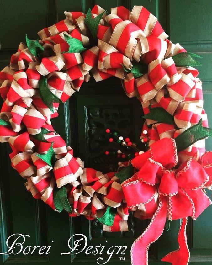 diy custom christmas ribbon wreath tutorial