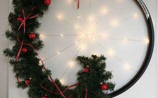 upscaled bicycle wheel holiday wreath