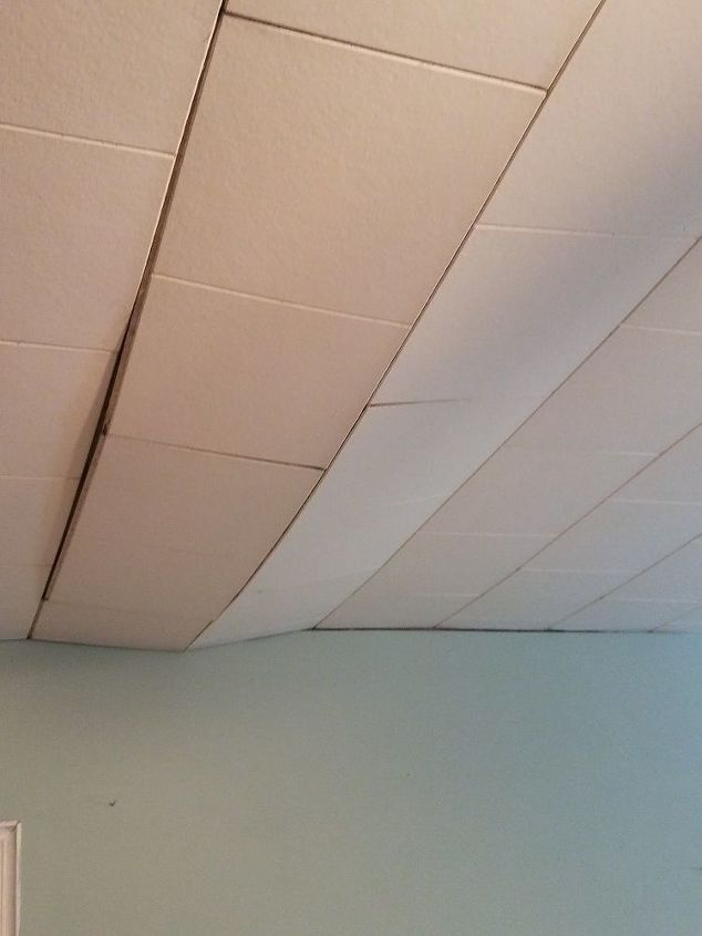 Repair Our Sagging Ceiling Tiles And If So How Hometalk