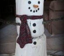 repurposed log snowman 4 feet tall