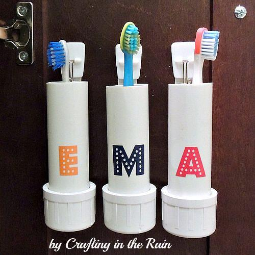 s keep you clutter off the countertops with these clever ideas, Place toothbrushes in PVC pipe holders