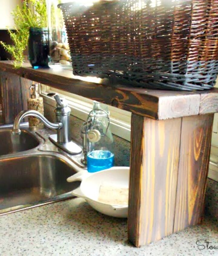 s keep you clutter off the countertops with these clever ideas, Add an over the sink shelf from pallet wood